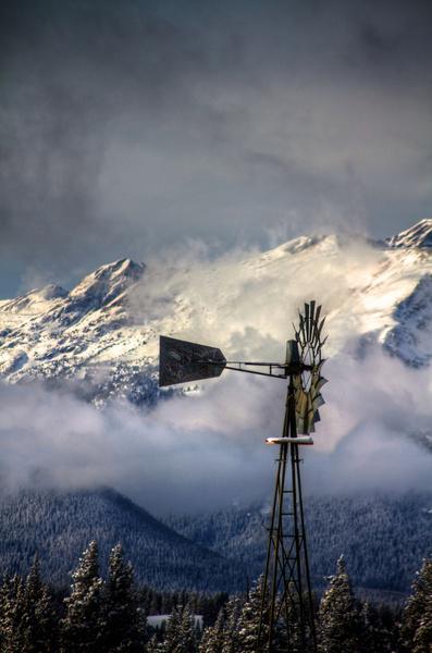 blue sky windmill
