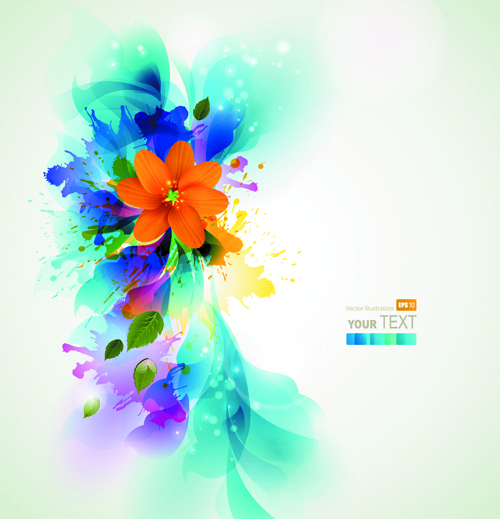 blue style watercolor flowers vector background