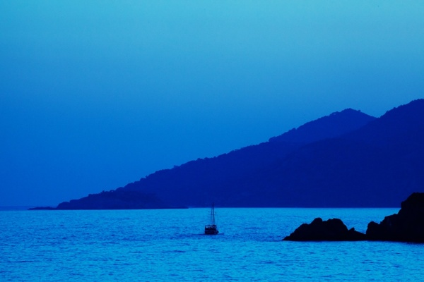 blue sunset and boat