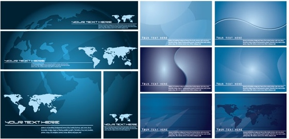 blue vector world map background