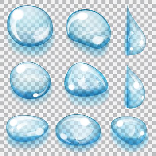 blue water drops vectors set