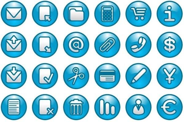 Blue Web Buttons Icon Set