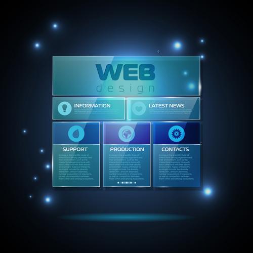 blue web infographics template design vector