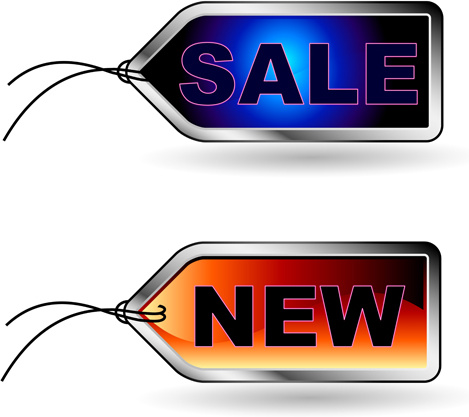 blue with red sale tags vector