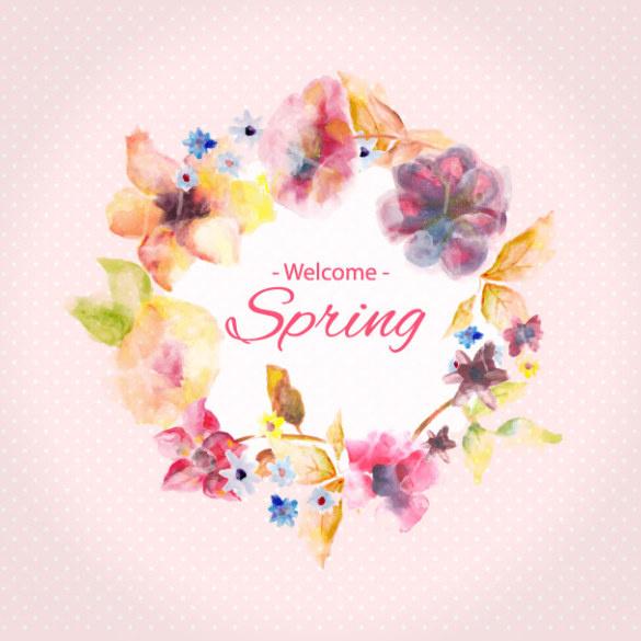 blurs flower frame with spring background vector