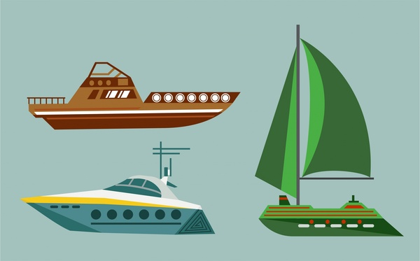 boats design collection various types isolation in colors