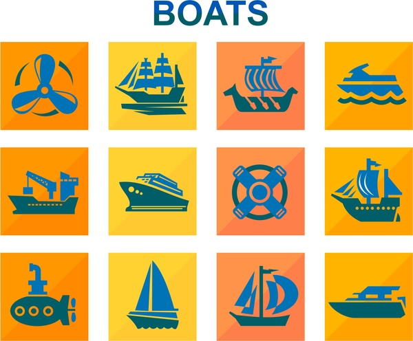 boats icons design with color flat style