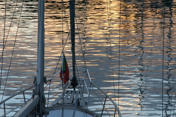 boats reflections water