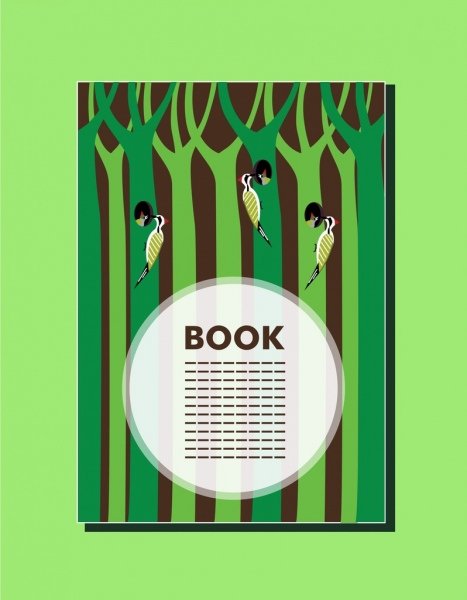 Book Cover Design Birds And Trees Decoration Free Vector In Adobe