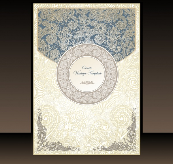 book cover decorative template retro elegant floral elements