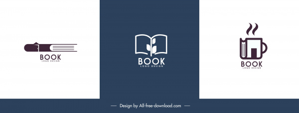 book logo templates flat classic handdrawn sketch
