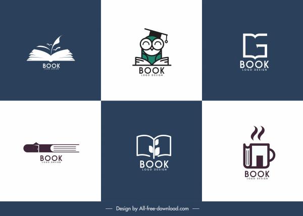book logo templates simple flat sketch