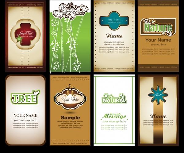 business card templates elegant flat decor vertical design