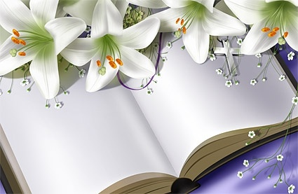books and lilies psd layered