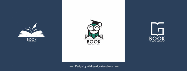 books logo templates classic flat shapes sketch