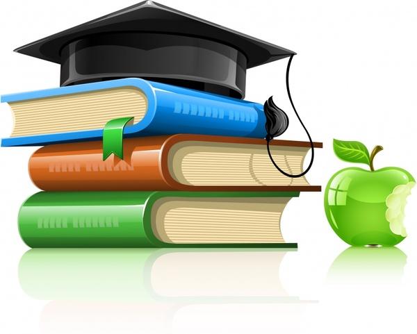 graduation background book hat apple icon 3d modern