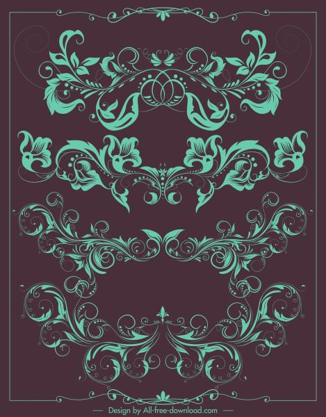 border decorative elements vintage symmetrical curved floral shapes