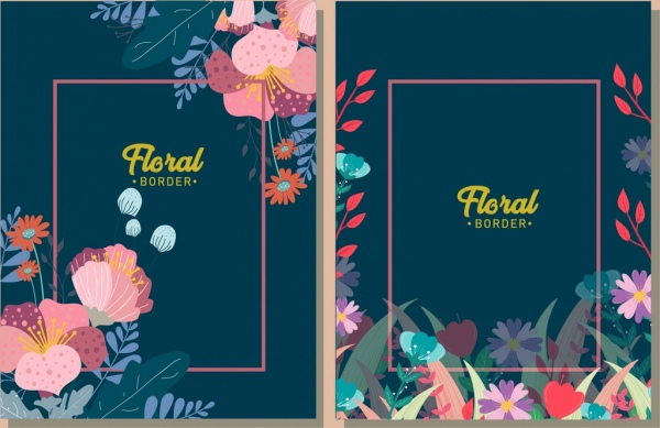 border decorative template colorful floral icons
