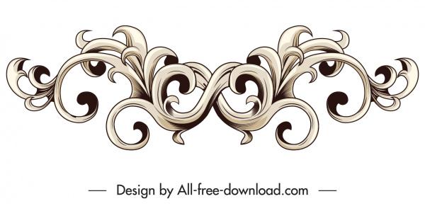 border design element classical symmetrical seamless curves decor
