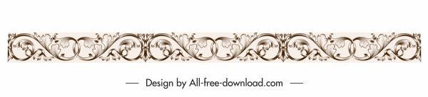 border design element elegant vintage seamless curves decor