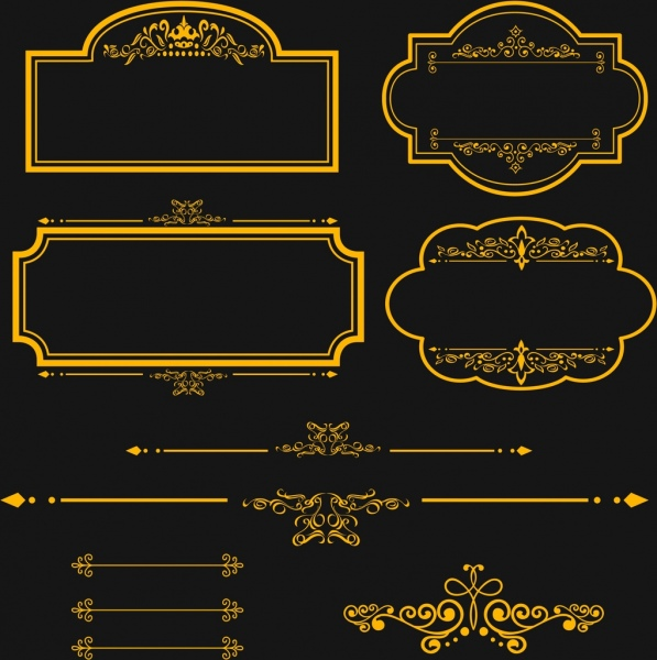 Border design elements yellow classical style Free vector ...