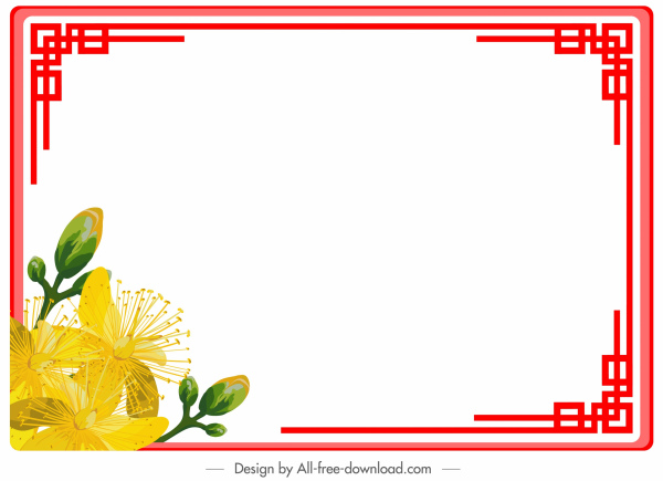 border template colored oriental flower decor symmetric design