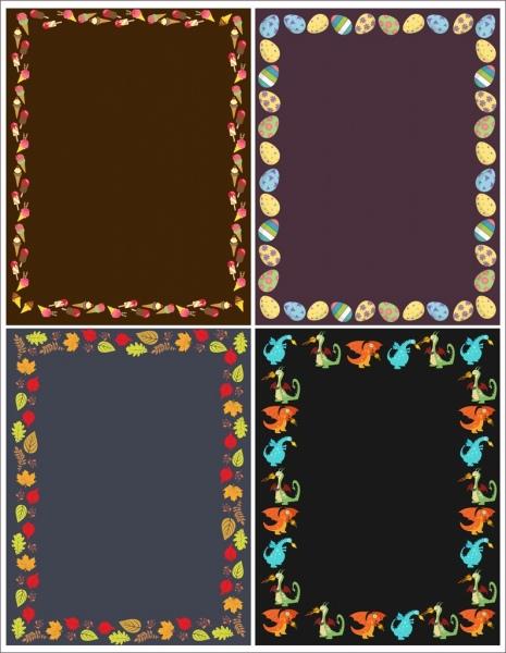 border templates egg cream leaf dragon icons decor