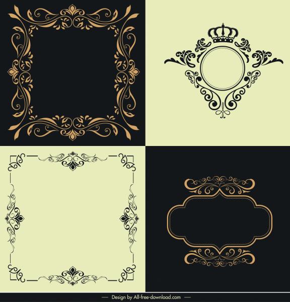 border templates elegant luxury design symmetric curves ornament