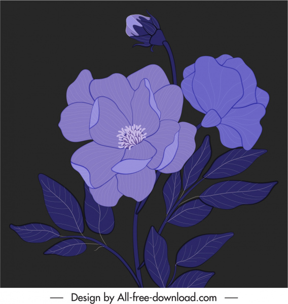 botany painting dark design handdrawn vintage