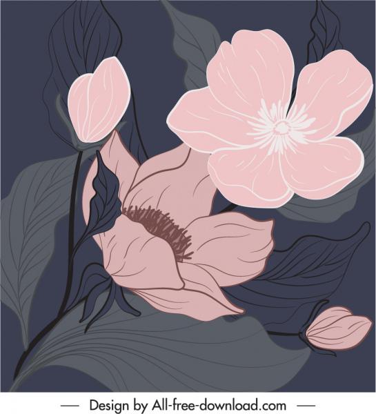 botany painting dark retro handdrawn design