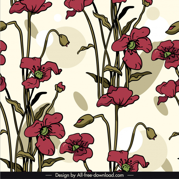 botany pattern template colored retro handdrawn sketch