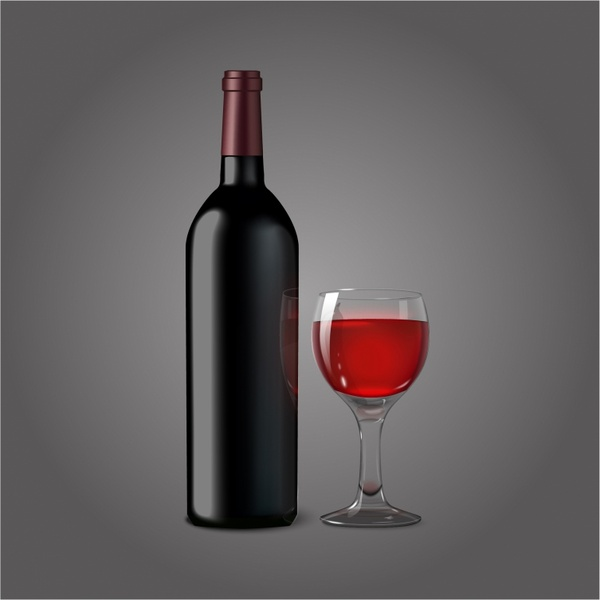 Bottle for red wine with glass