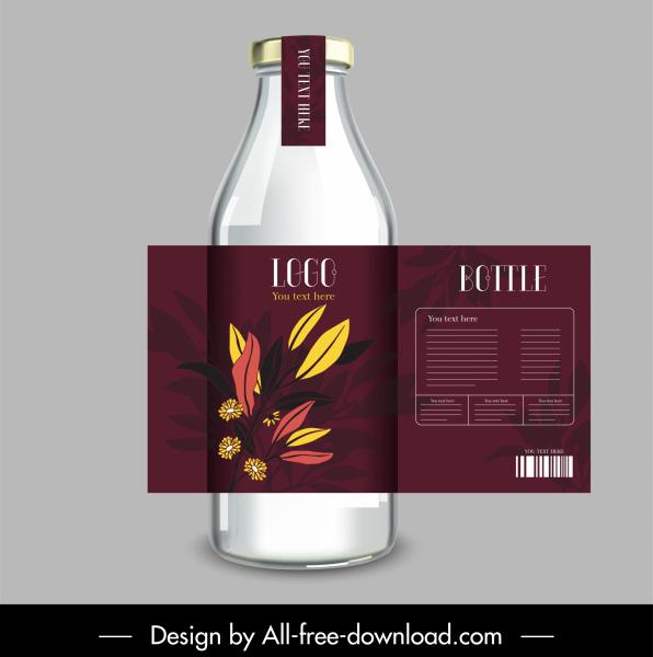 bottle label template elegant dark design leaves decor