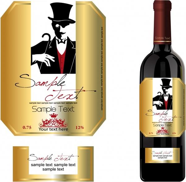 wine labels template bright golden design elegant man
