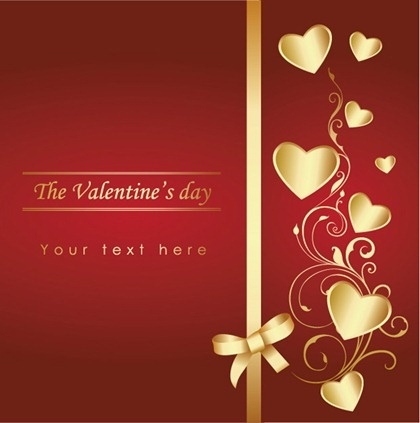 valentines card cover background curves golden hearts decoration