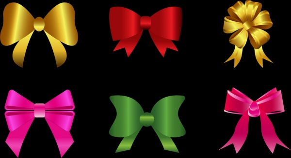bows icons collection 3d colored shiny isolation