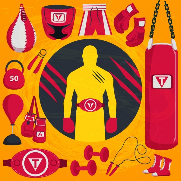 boxing sports design elements red tools objects icons