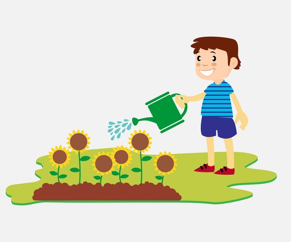 Boy Watering Flowers Vector Illustration In Flat Design