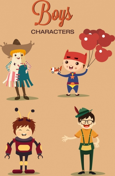boys characters icons cute colored cartoon design