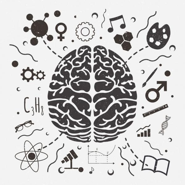 brain concept background black white retro design