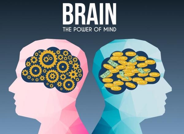 brain concept background polygonal head gear money icons