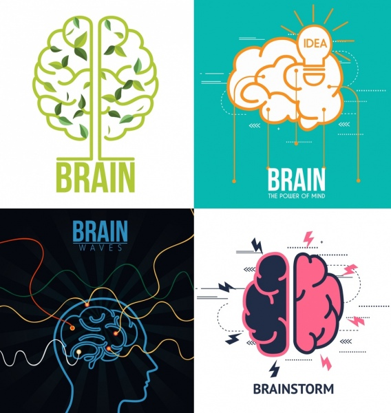 brain concept sets colored flat isolation