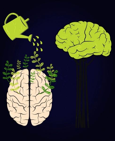 brain growing background showering pot icon dark design