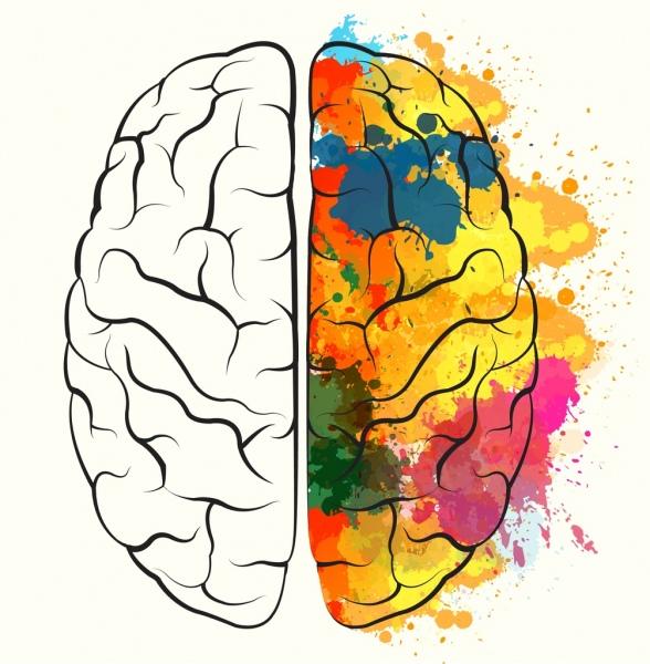brain icon design watercolored splashing grunge sketch