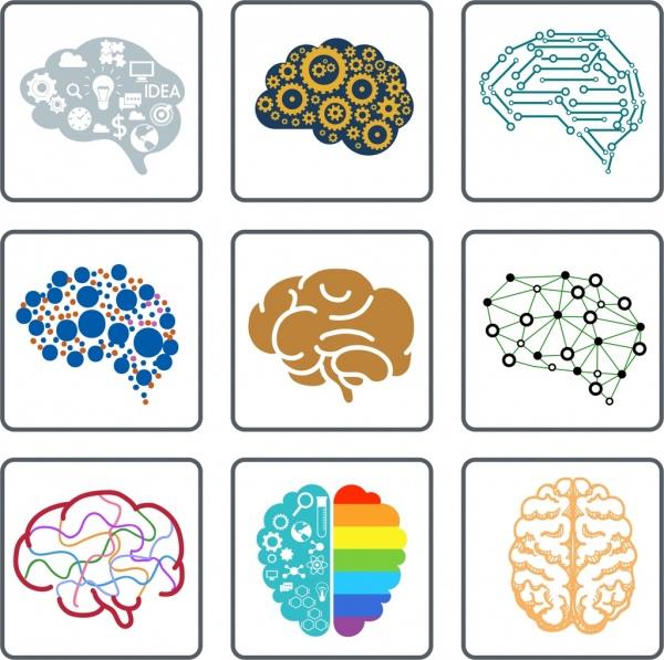 brain icons collection flat symbols isolation
