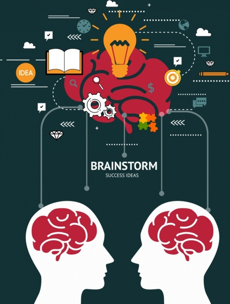 brainstorming concept background head silhouette various idea icons
