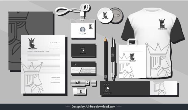 brand identity sets black white royal elements decor