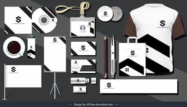 brand identity sets black white text logotype decor