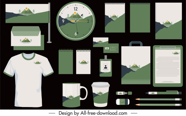 brand identity sets mountain landscape decor flat classic