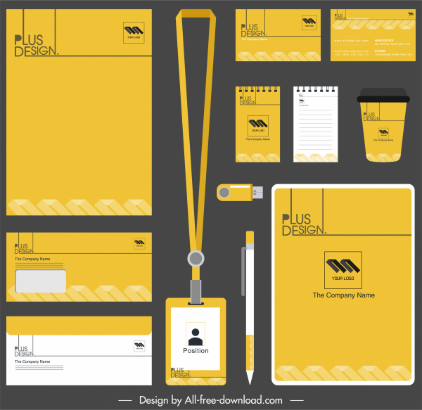 brand identity sets yellow white plain decor